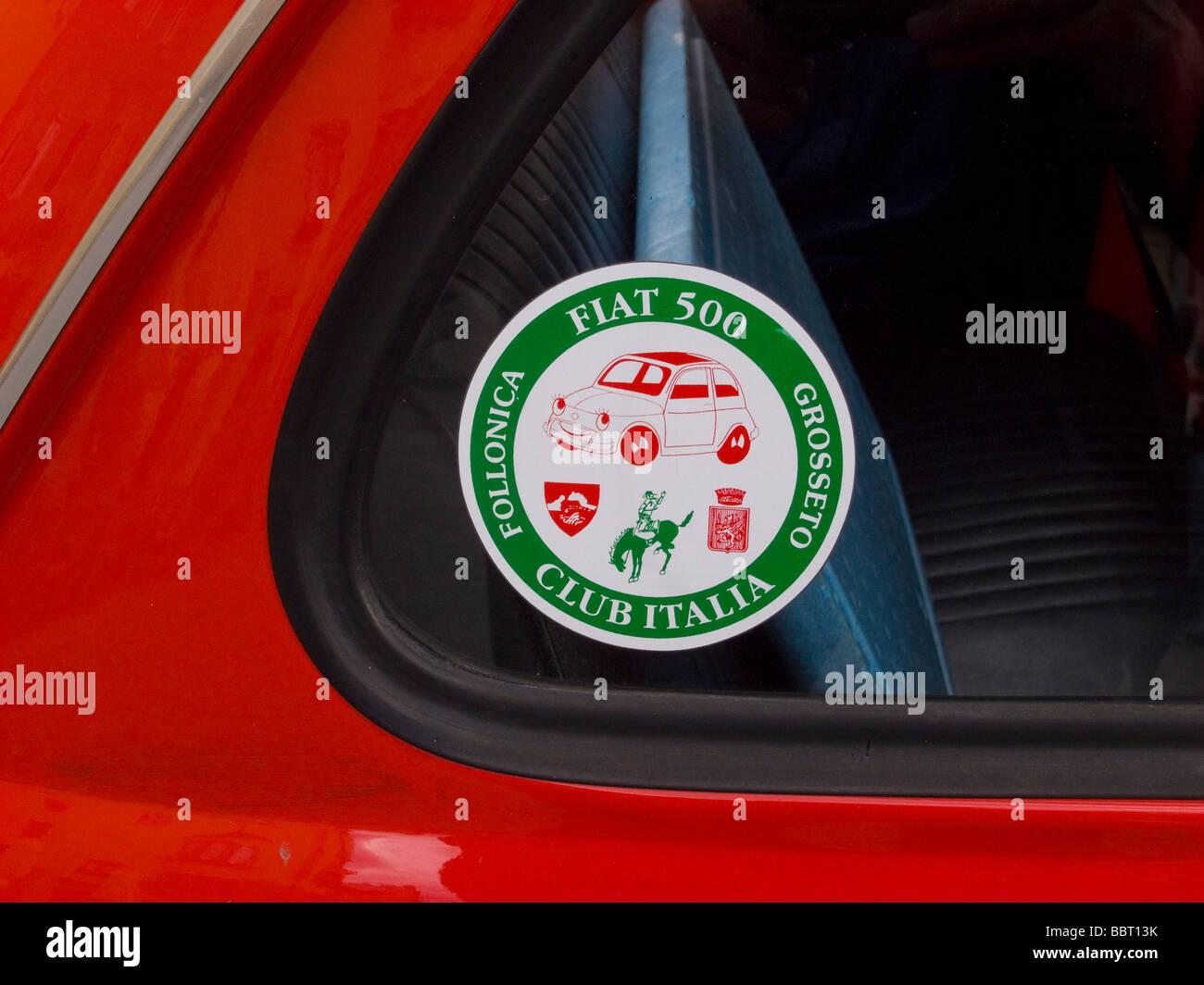 Fiat 500 Club Italia Sticker On A Red Vintage Fiat 500 At