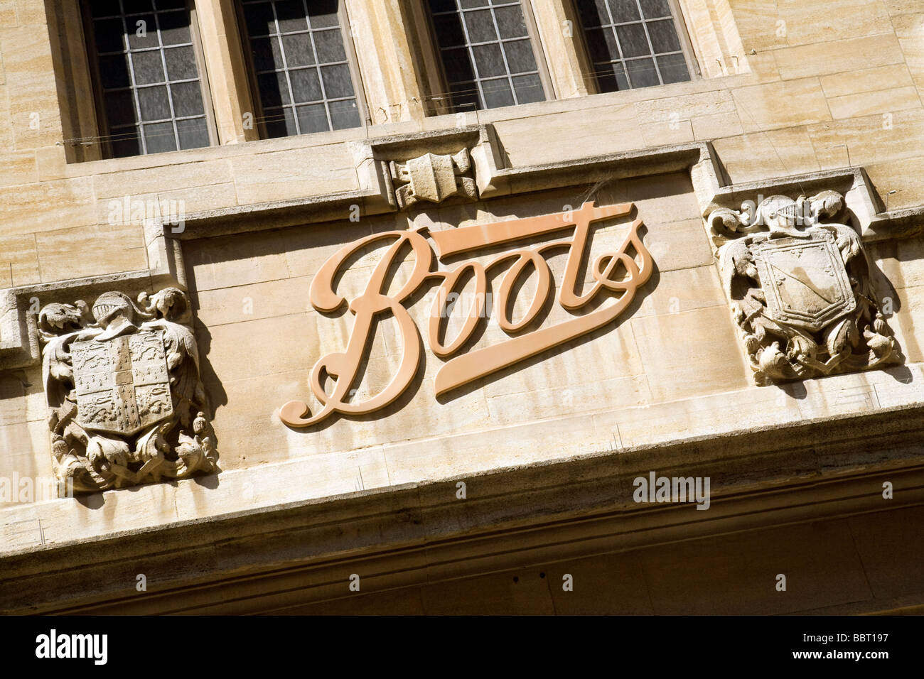 Sign for Boots the Chemist, Cambridge, UK - Stock Image