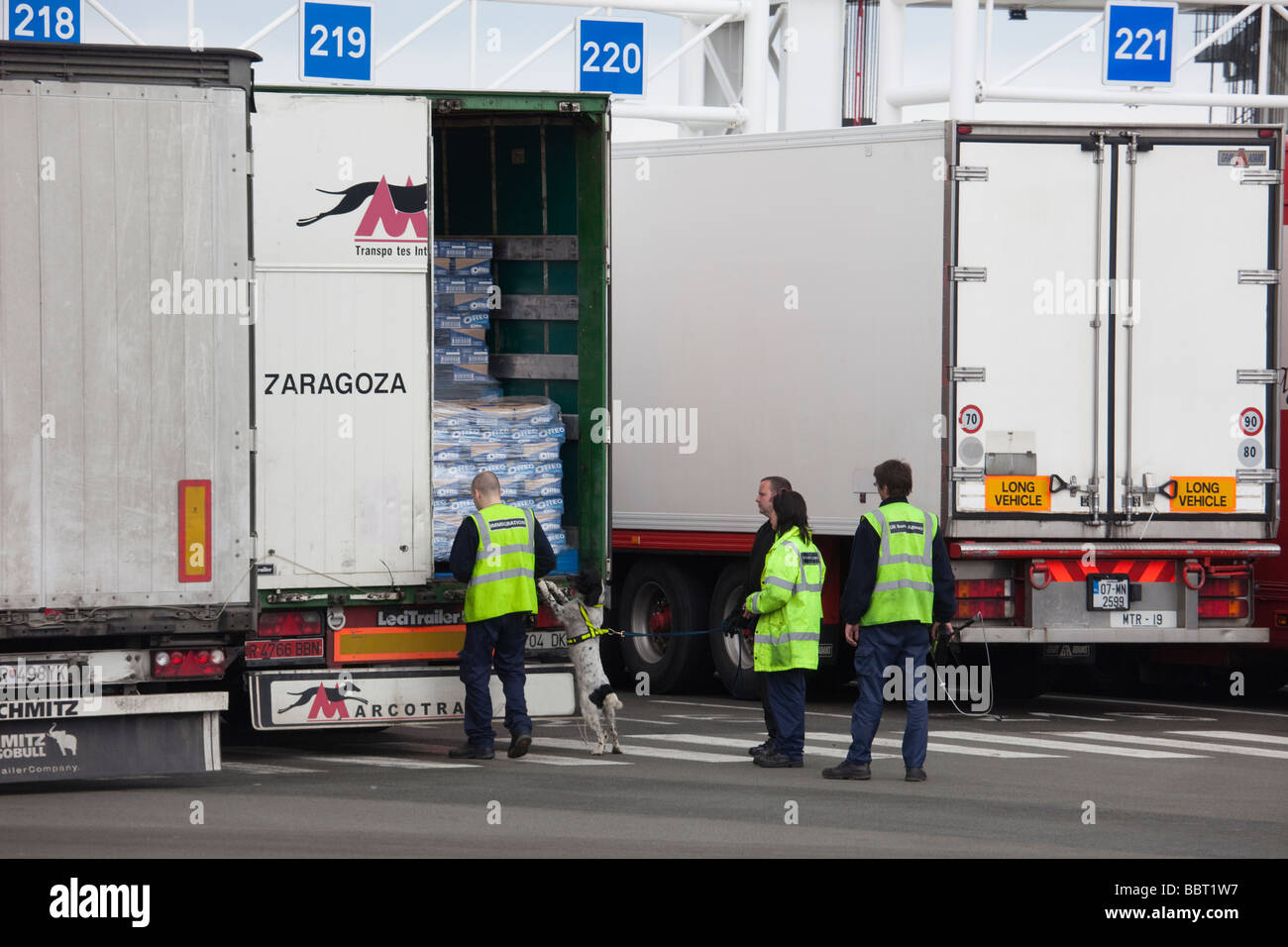 Calais Ferry Port France Europe UK Border Agency staff and sniffer dog checking a lorry - Stock Image