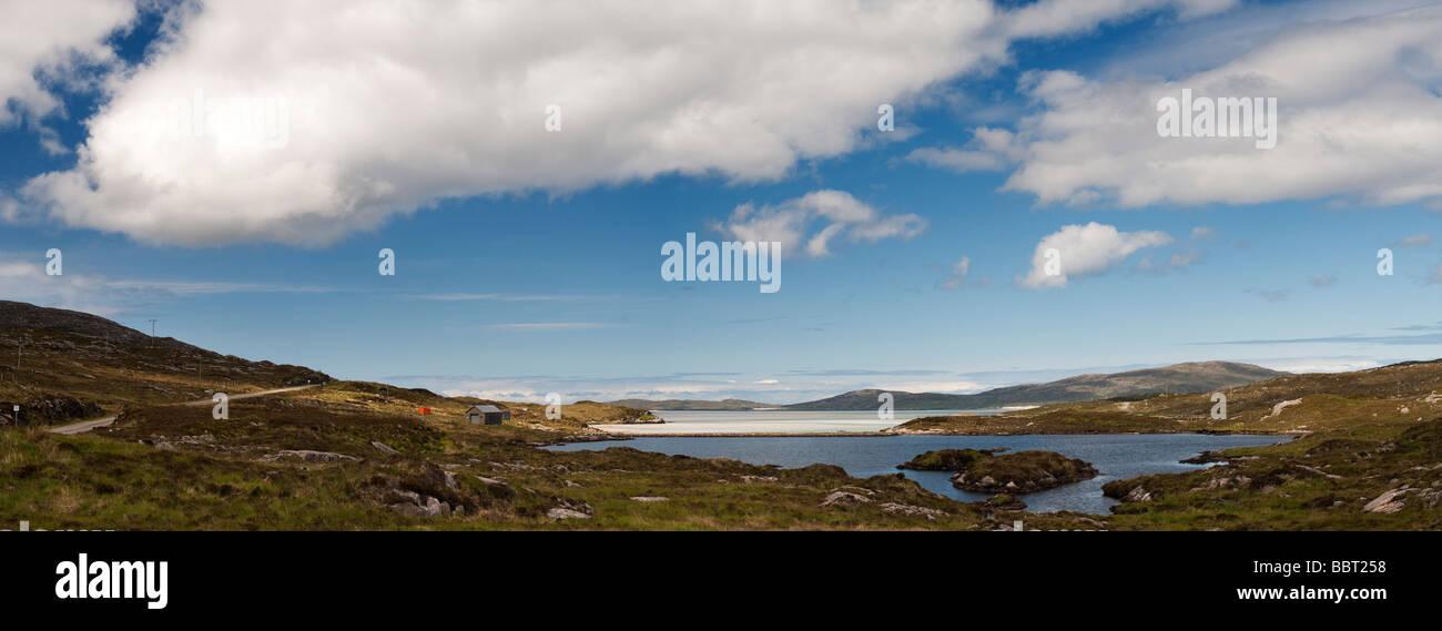 Luskentyre beach panoramic, Isle of Harris, Outer Hebrides, Scotland - Stock Image
