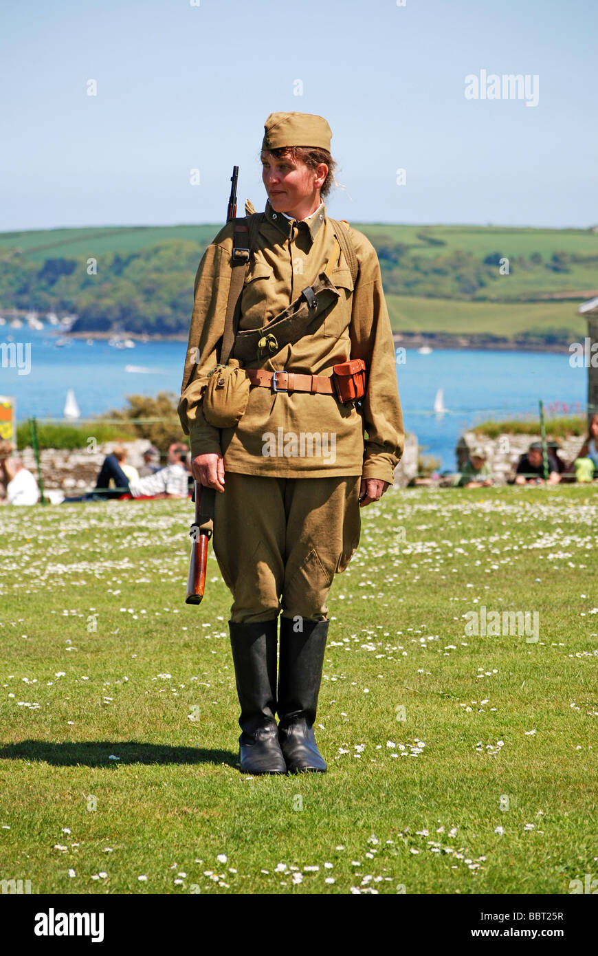 a 'world war two' female russian soldier at a military day in falmouth, cornwall, uk - Stock Image