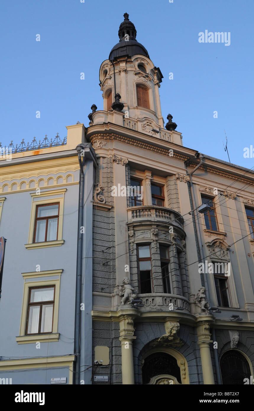 Detail of buildings on Kobylianska Street, Chernivtsi, Ukraine - Stock Image