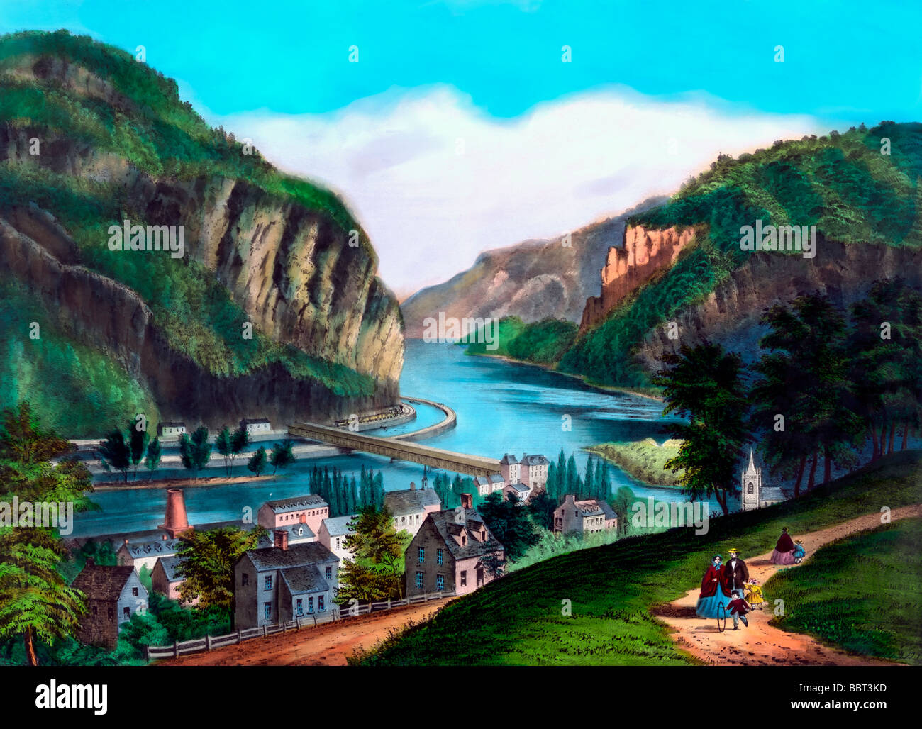 Hand tinted illustration of View of Harpers Ferry, Virginia (from the Potomac side.) circa 1870 - Stock Image
