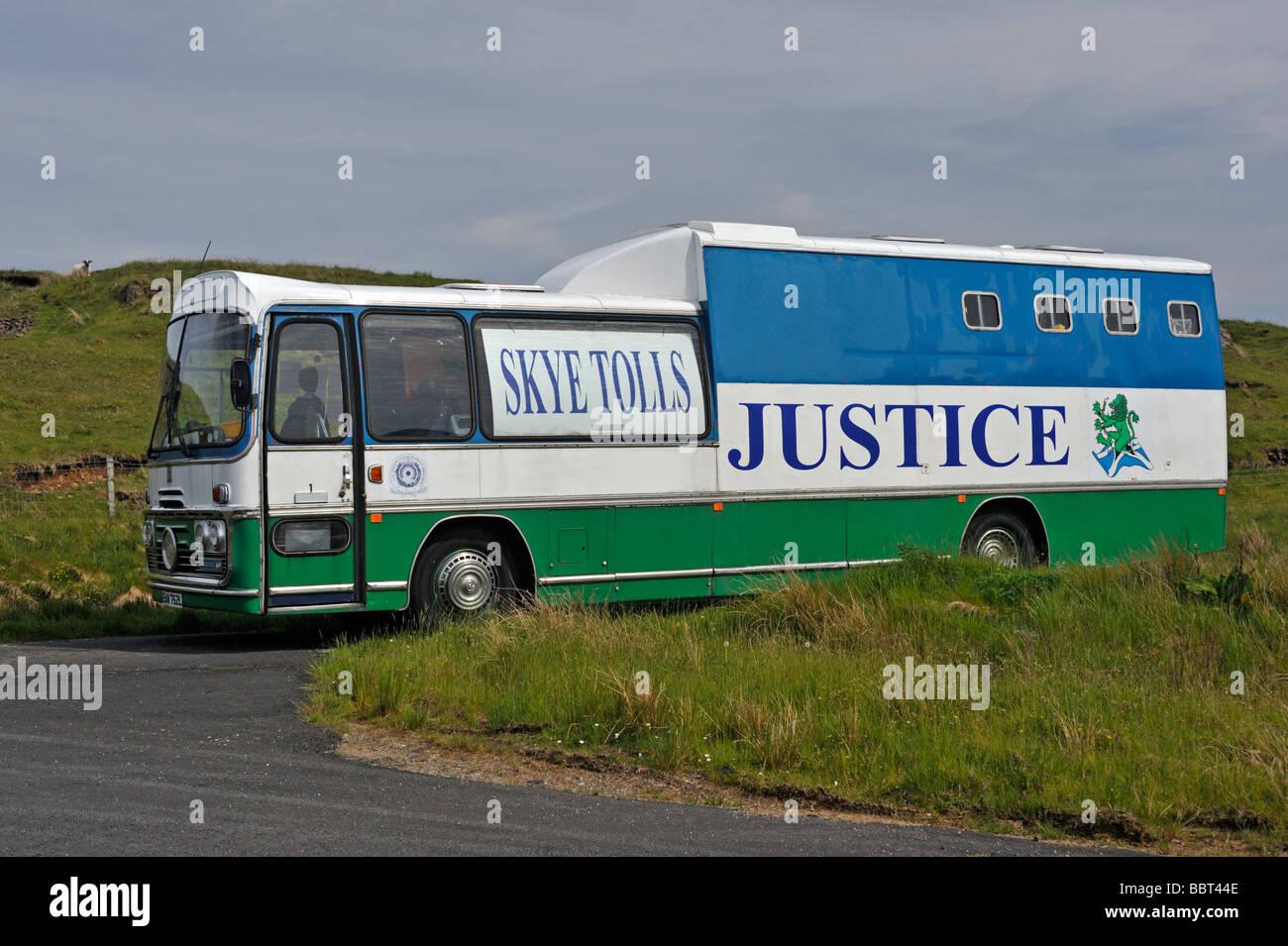 Skye Tolls Justice bus. Bracadale, Isle of Skye, Inner Hebrides, Scotland, United Kingdom, Europe. - Stock Image