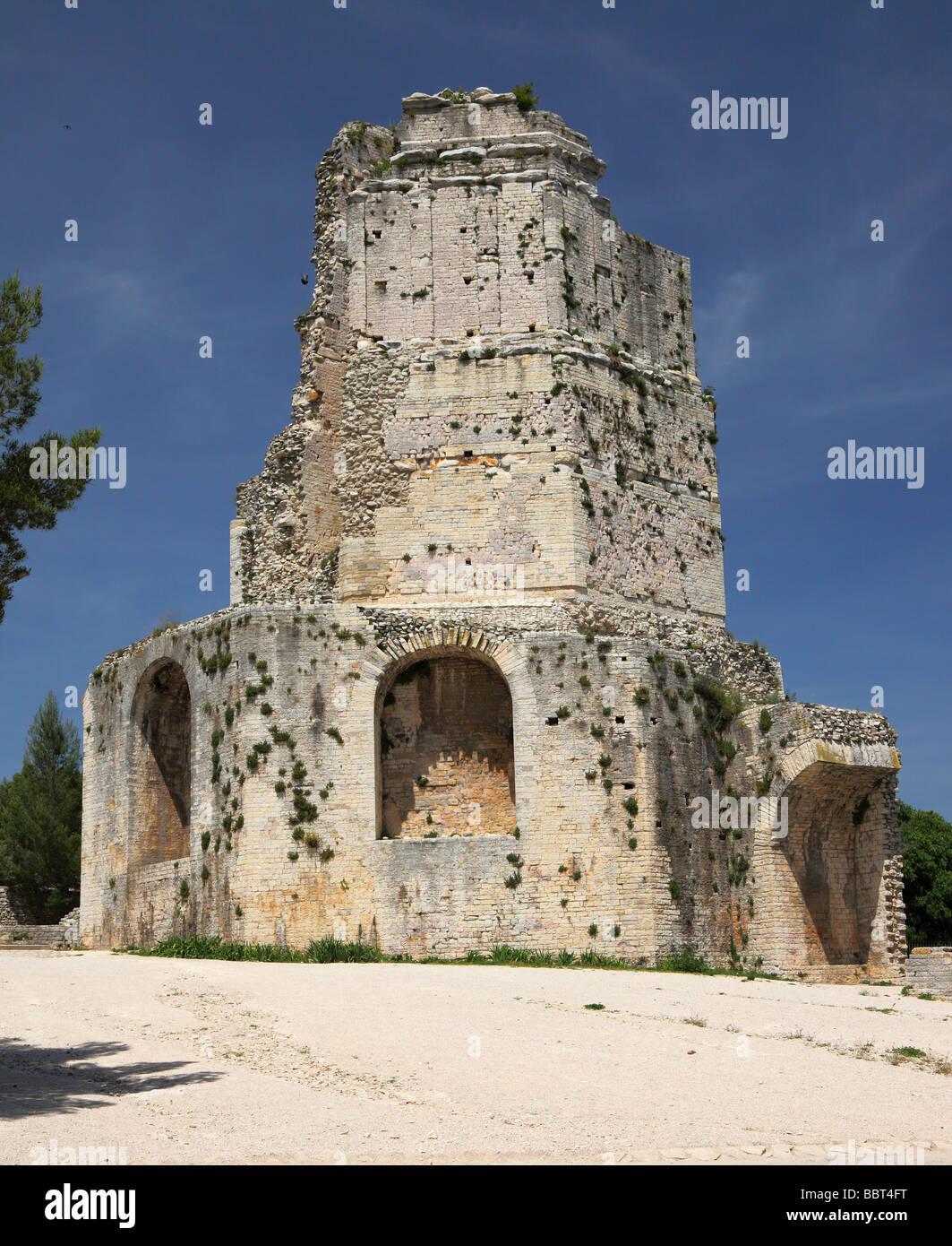 Ancient roman tower Nimes La tour Magne Languedoc-Roussillon France - Stock Image