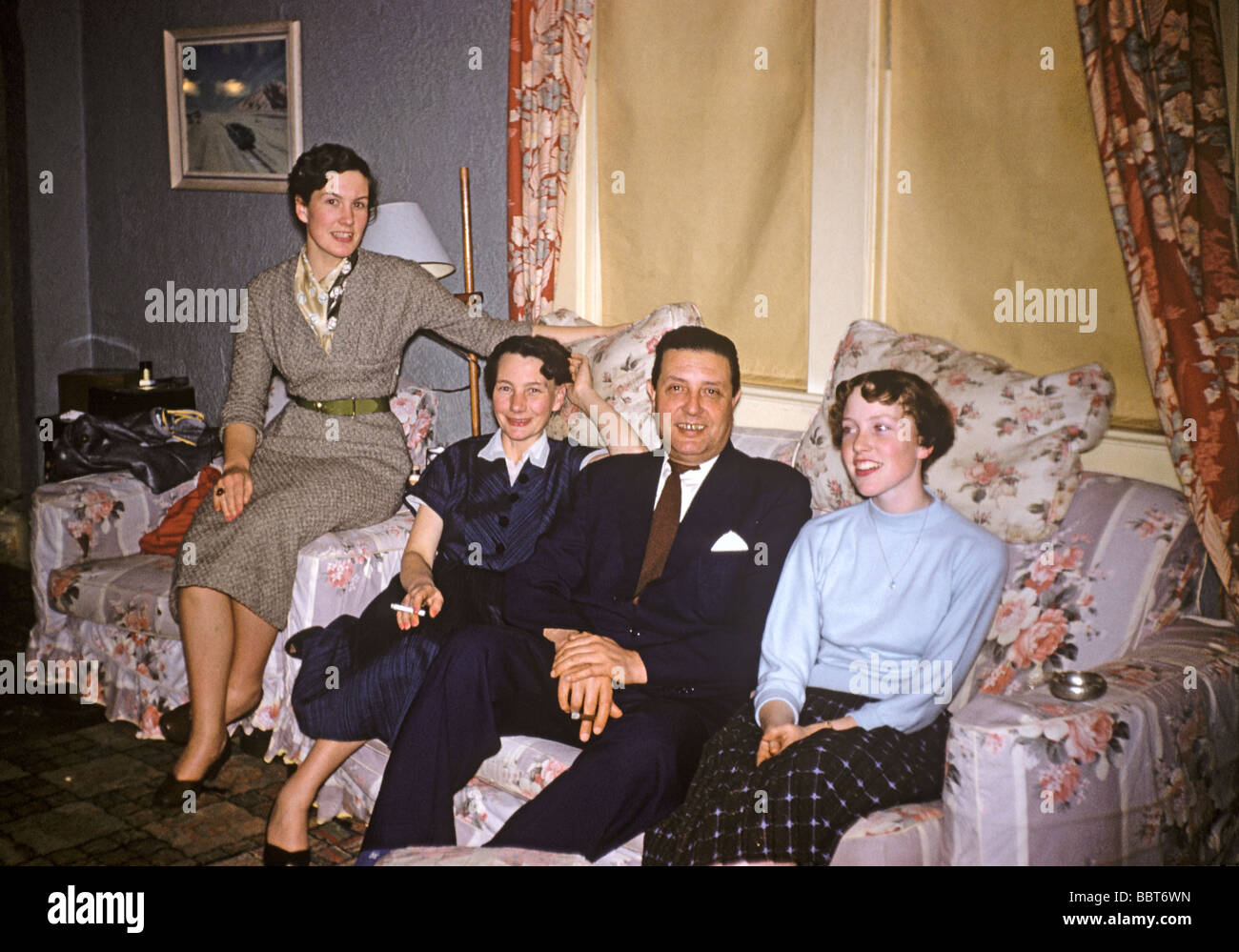Interior with 1950s family - Stock Image
