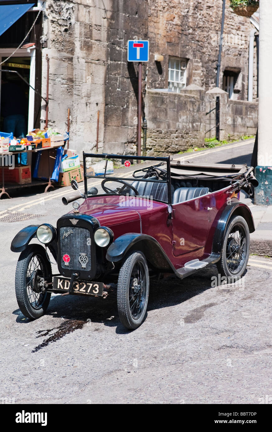 Old Austin Seven open top tourer car in an English town Stock Photo