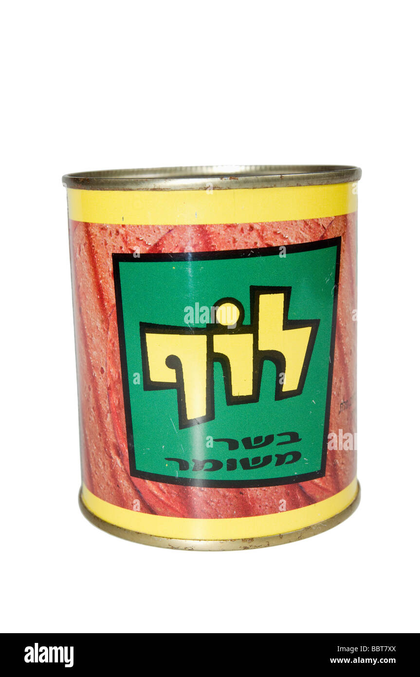 Cutout of a tin of Luf Israeli Kosher SPAM on white background Stock Photo
