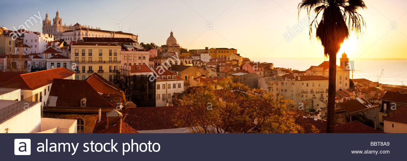 View of the Alfama district from Largo Portas do Sol, Lisbon, Portugal. - Stock Image