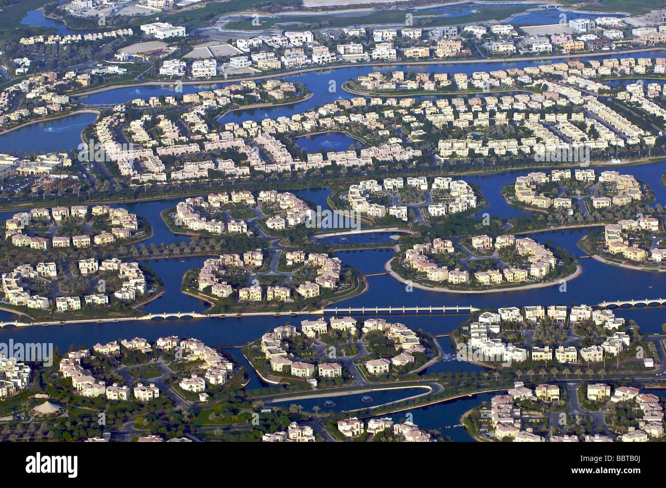 Dubai the residential area Jumeirah islands Stock Photo