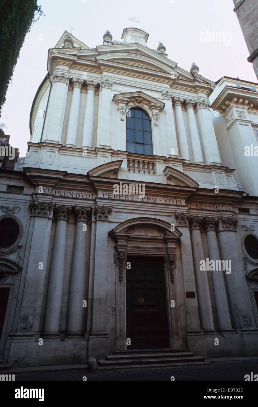 Façade of the church Santa Maria dell'Orazione e Morte in Rome - Stock Image