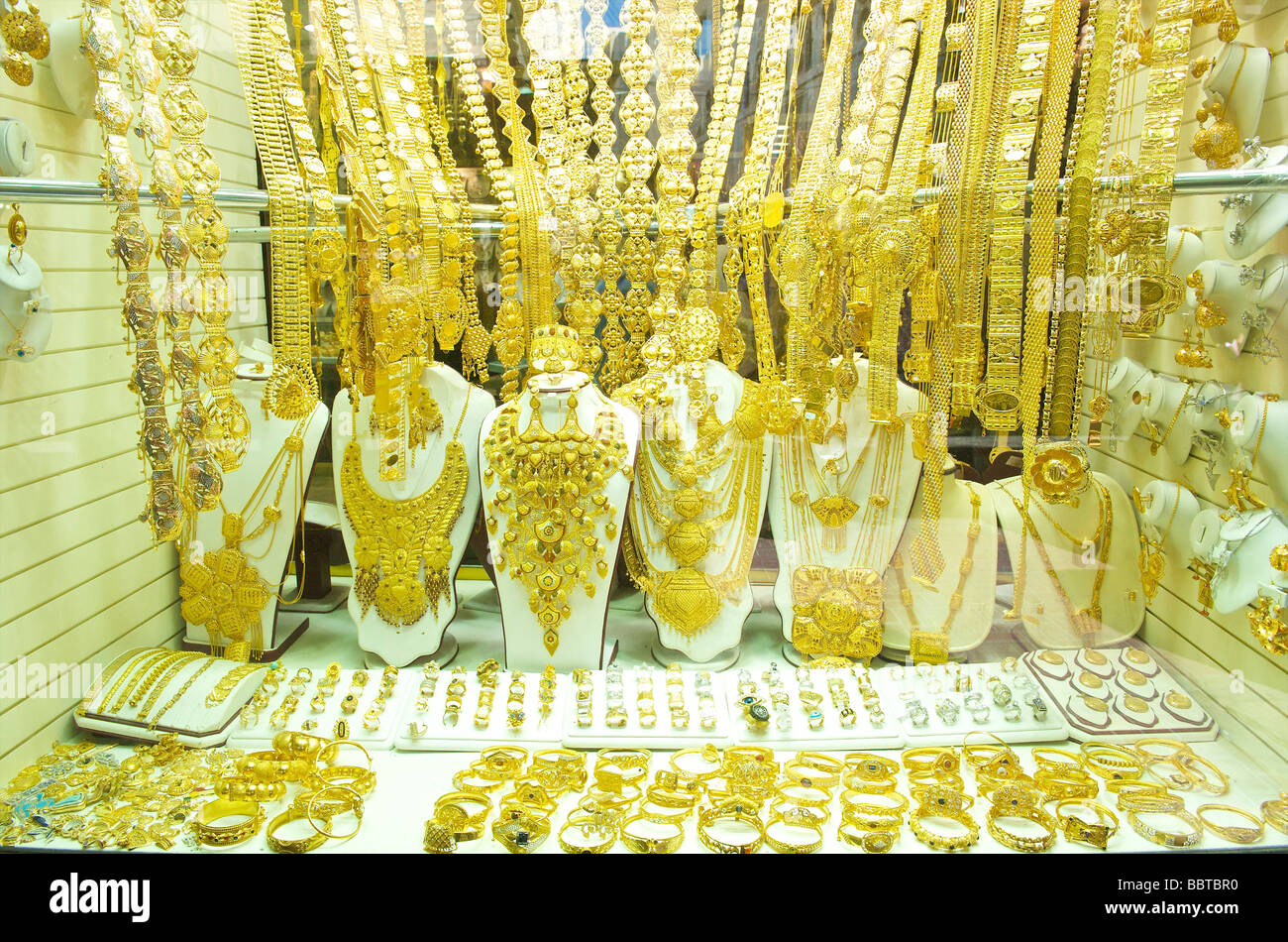 Dubai gold souq in the old Arab town - Stock Image