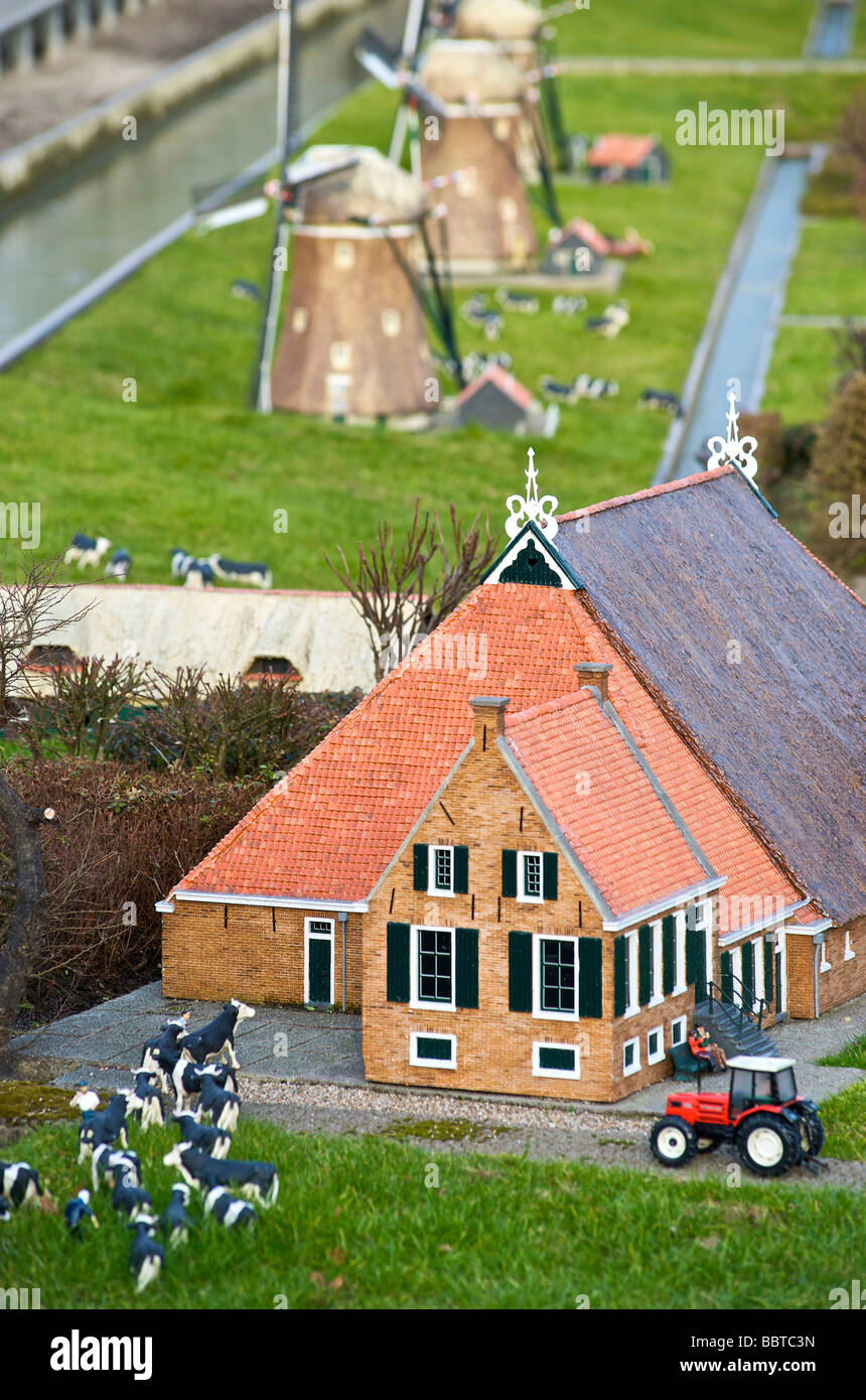 Kinderdijk as replicated in Madurodam - Stock Image