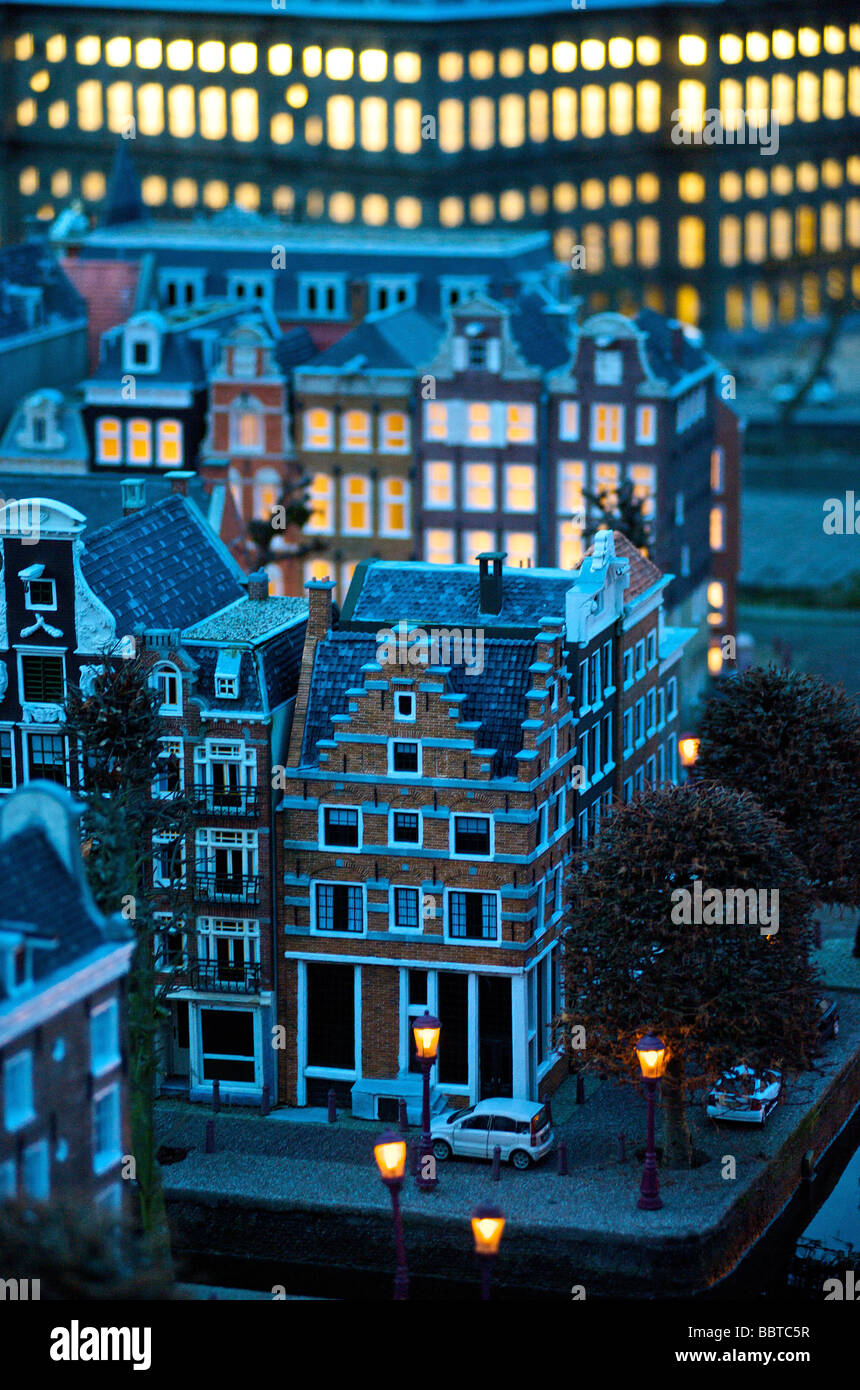 Typical Dutch historic city centre and monumental houses - Stock Image