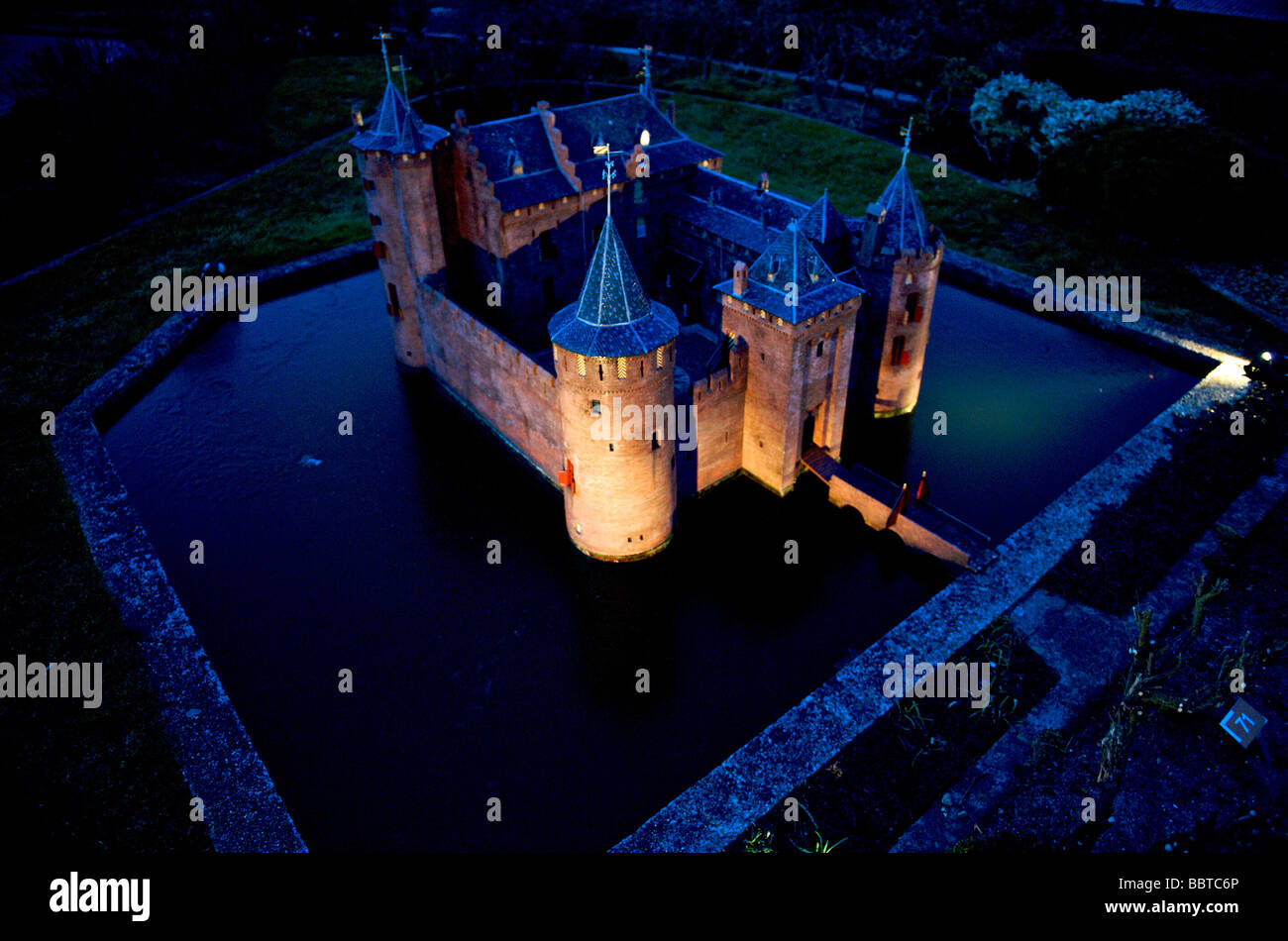 The Muiderslot as replicated in Madurodam - Stock Image