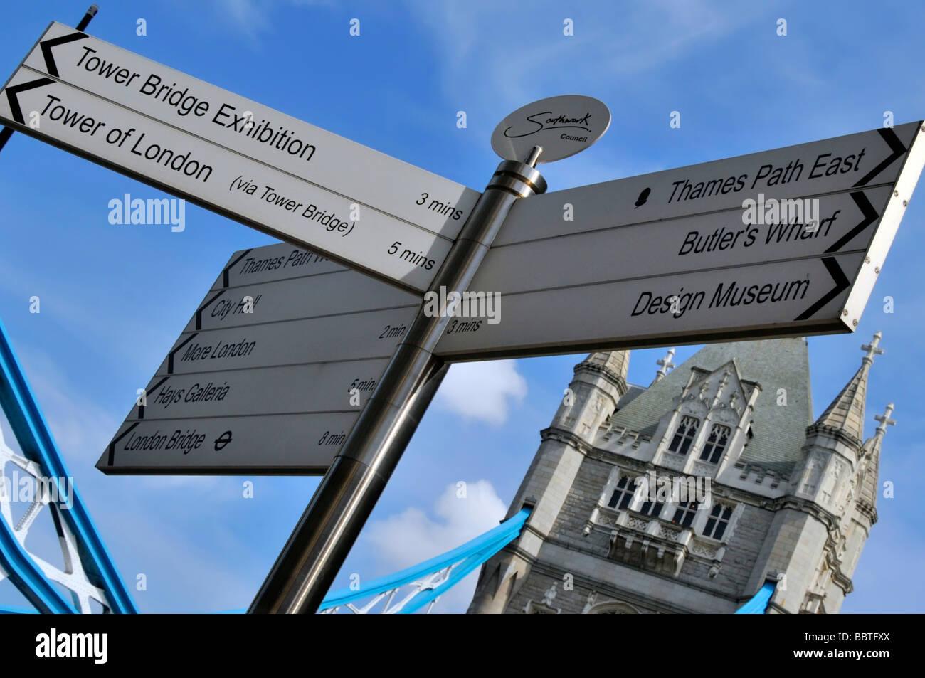 signpost sign post London signs posts signposts uk - Stock Image