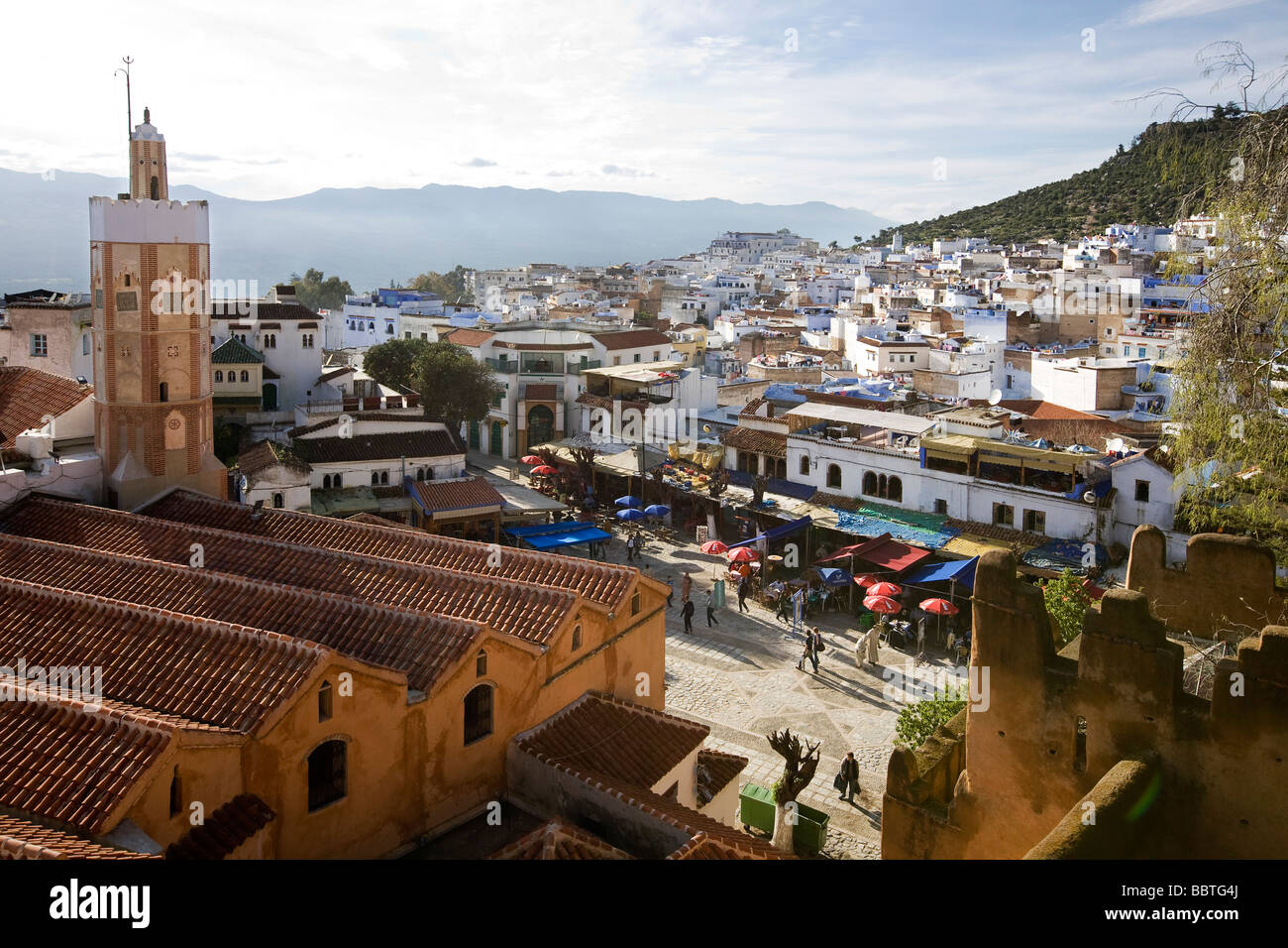 View over Grand Mosque from Kasbah, Chefchaouen, Morocco - Stock Image