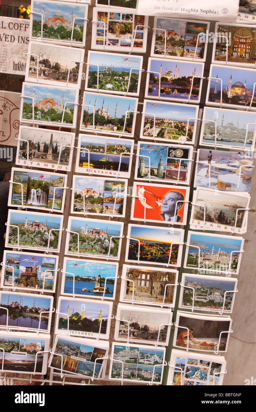 Istanbul Turkey tourist holiday postcard postcards souvenirs for sale - Stock Image