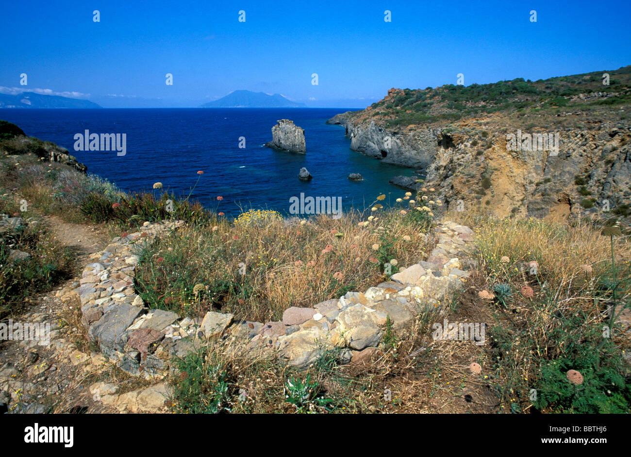 Prehistorical village, Punta Milazzese, Panarea island, Aeolian Islands, Sicily, Italy - Stock Image