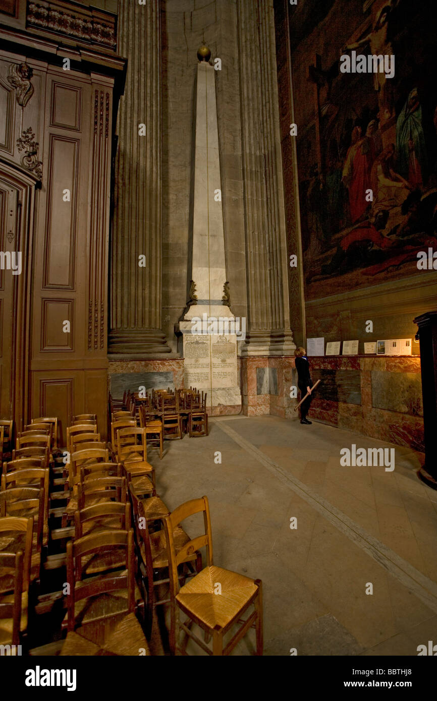 The Rose Line in Saint Sulpice Church Paris France. Featured in the Dan Brown book The Da Vinci Code - Stock Image