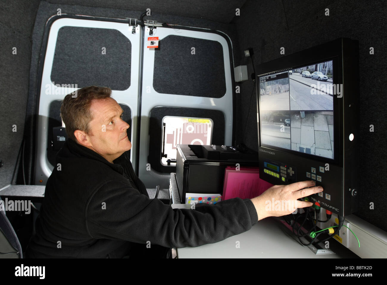 The operator's view from inside a Safety camera van in Aberdeen, Scotland, UK with traffic visible on the Commander - Stock Image