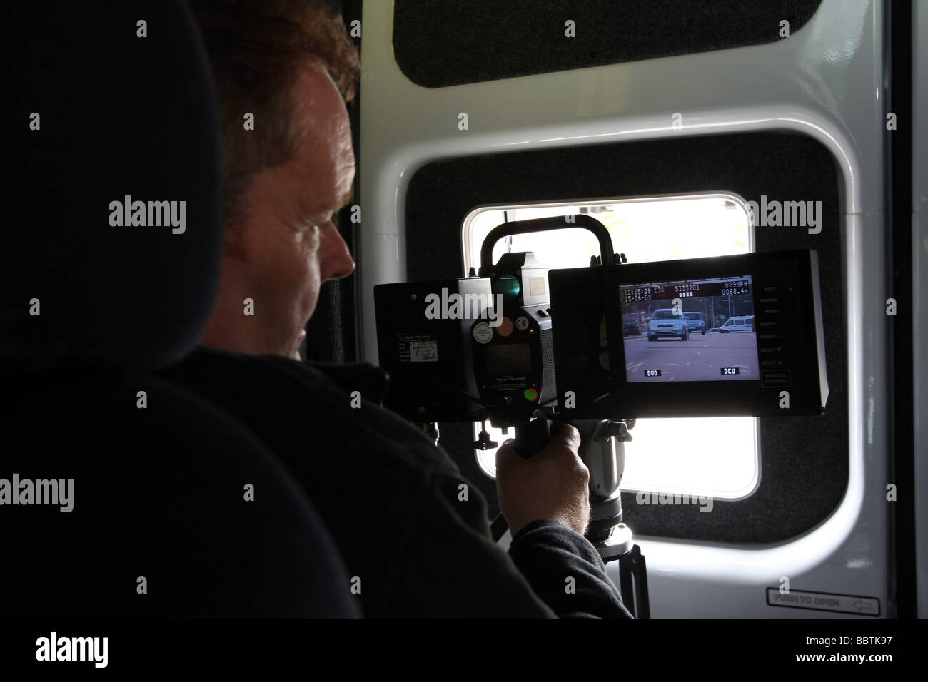 The operator's view from inside a Safety camera van in Aberdeen, Scotland, UK with traffic visible on the camera - Stock Image