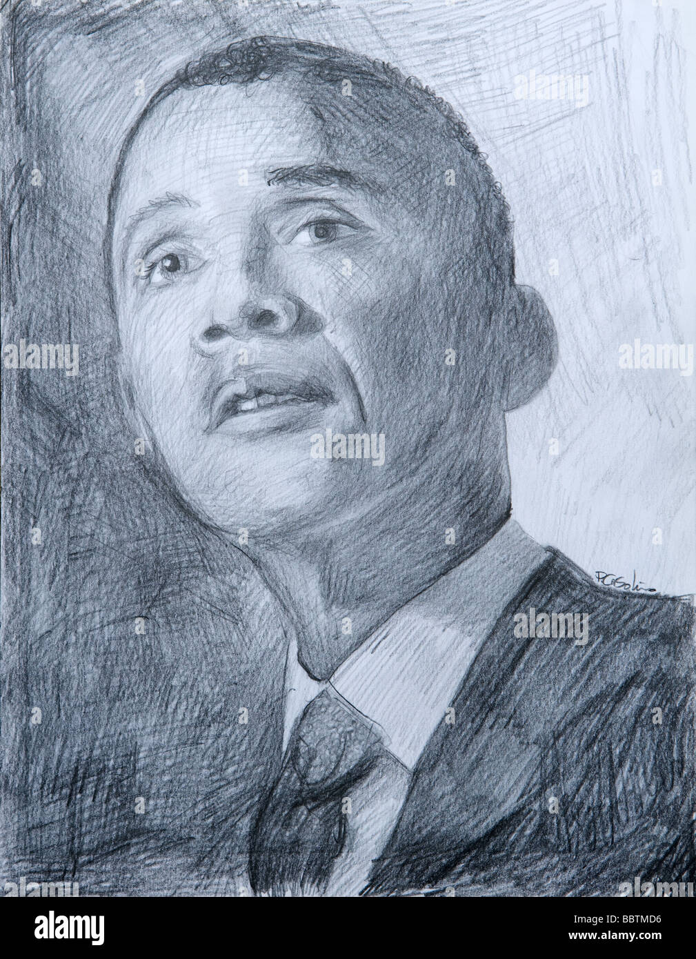 Drawing of US President Barack Obama - Stock Image