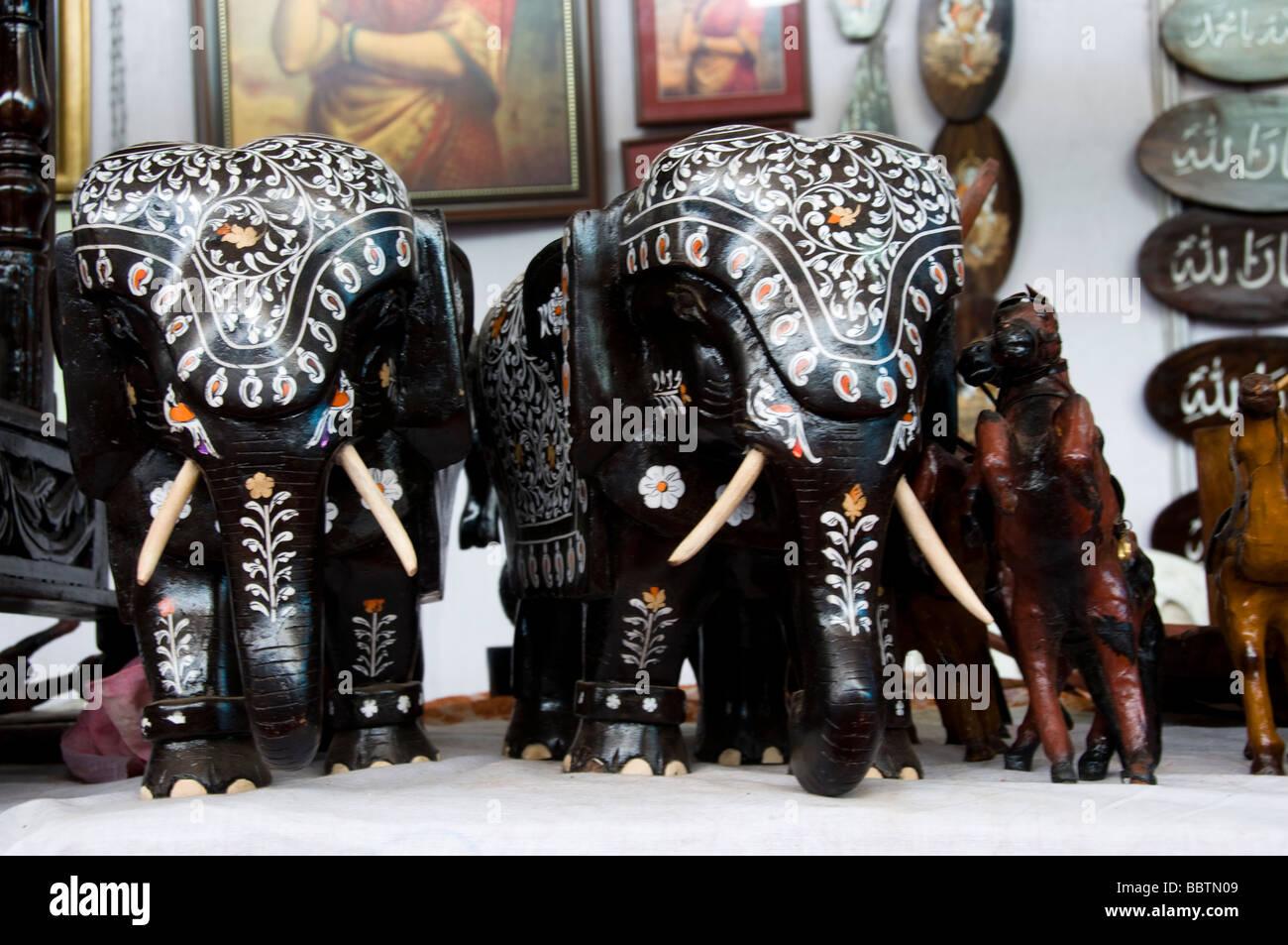 Decorated handmade elephant on sale - Stock Image