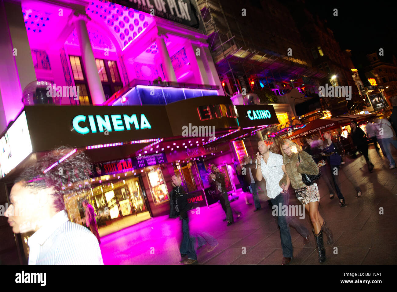 Leicester Square at night, London - Stock Image