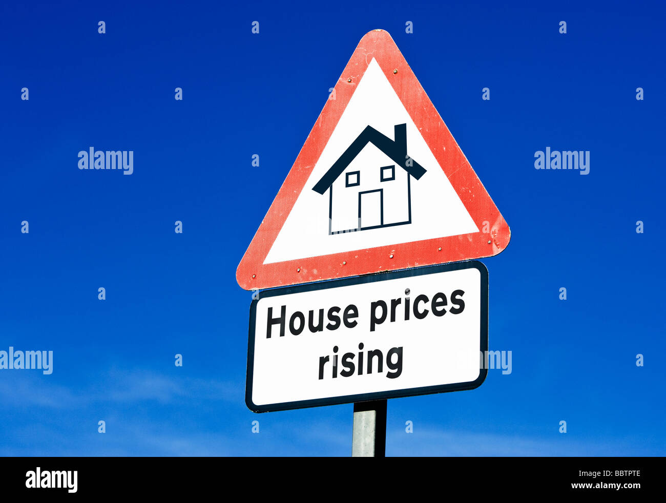 Sign showing House prices rising concept, England UK - Stock Image