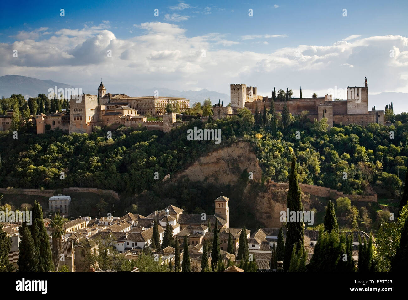 Panoramic of the Alhambra from the Mirador de San Nicolas Granada Andalusia Spain Stock Photo