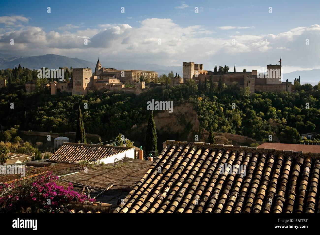 Panoramic of the Alhambra from the Mirador de San Nicolas Granada Andalusia Spain Stock Photo