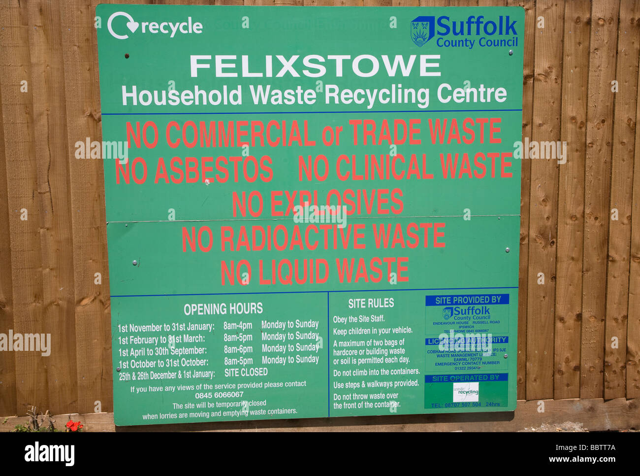 Rules household waste recycling centre - Stock Image