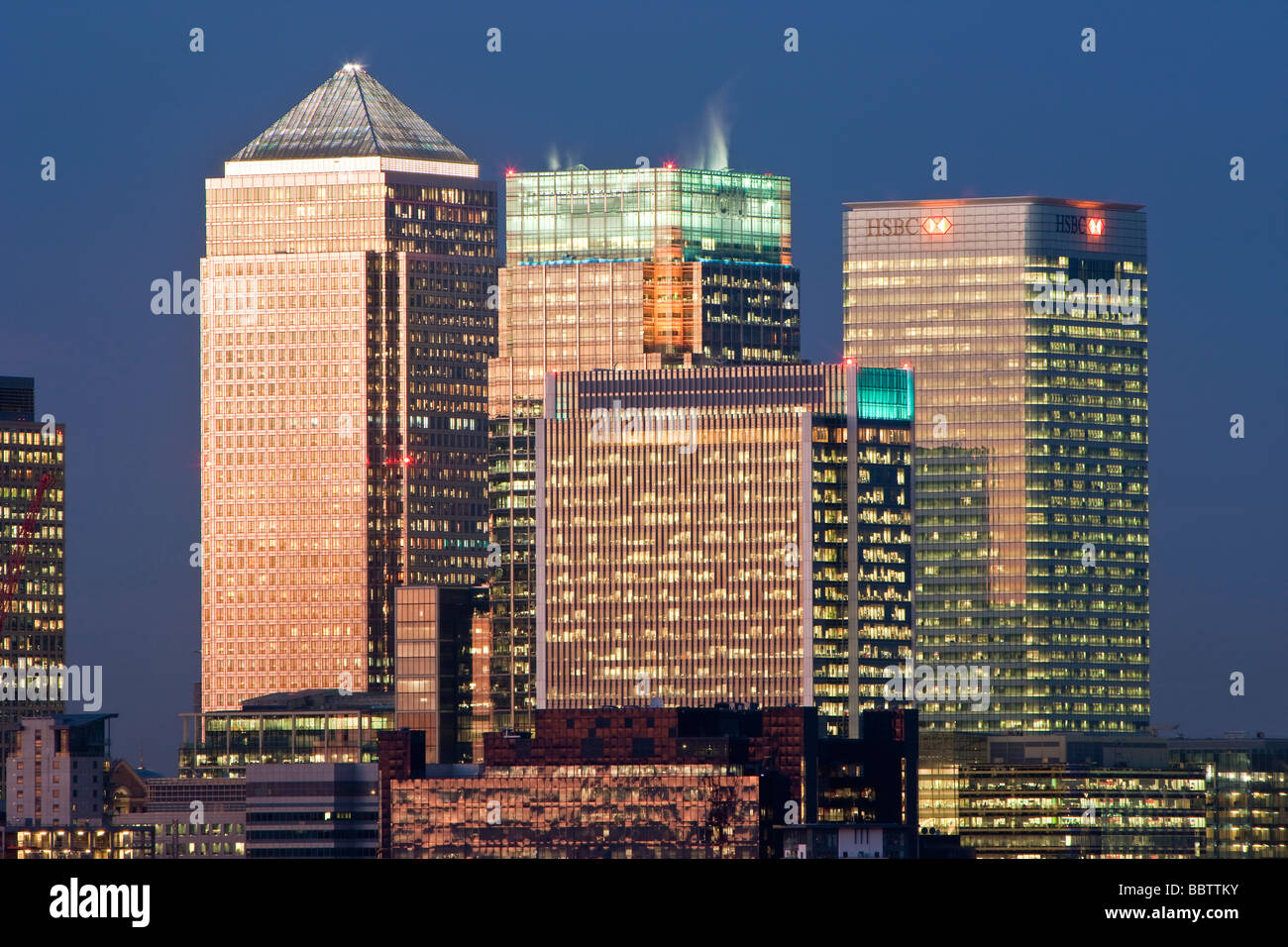 Bank buildings in the Financial centre of Canary Wharf London England United Kingdom - Stock Image