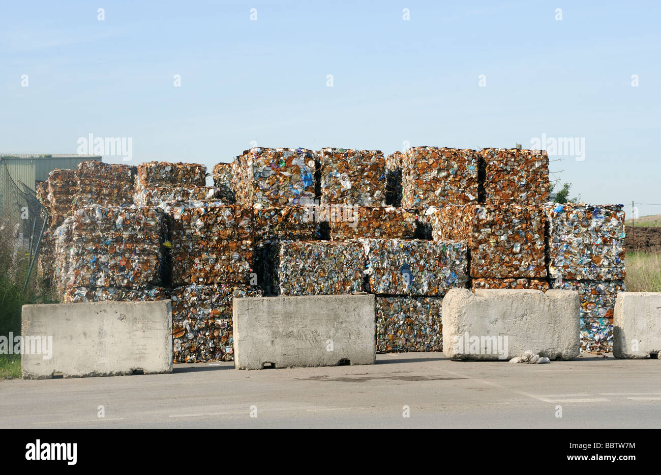 Rubbish sorted for recycling at Rainham landfill site Essex,UK - Stock Image
