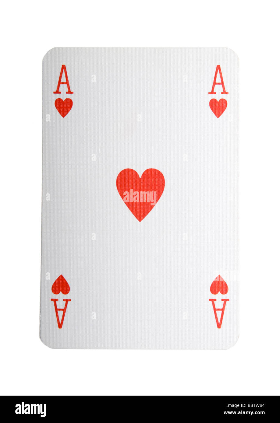 Ace of hearts play card on white background - Stock Image