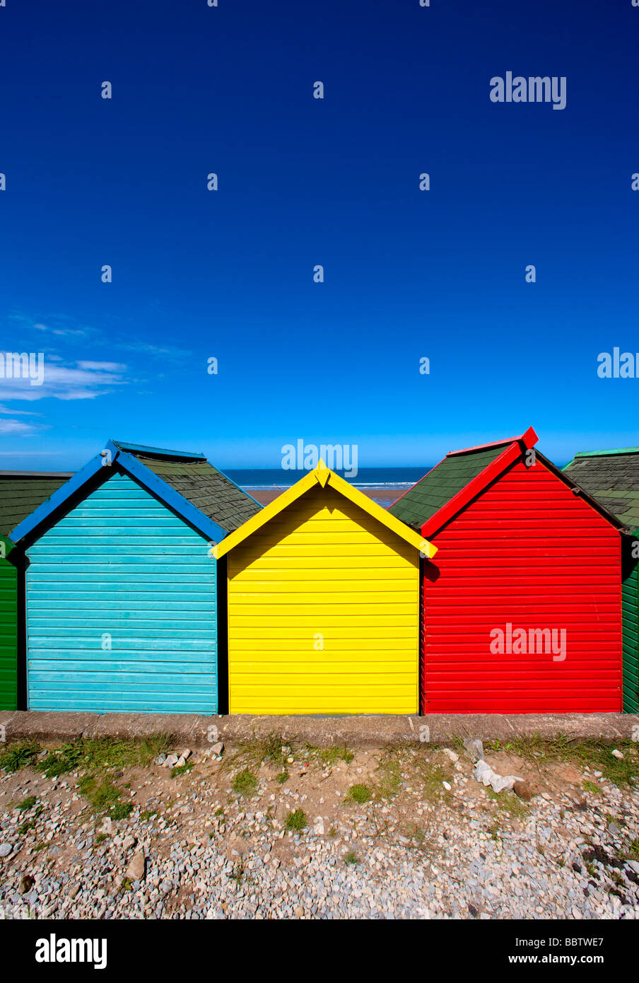 Beach Huts Whitby - Stock Image