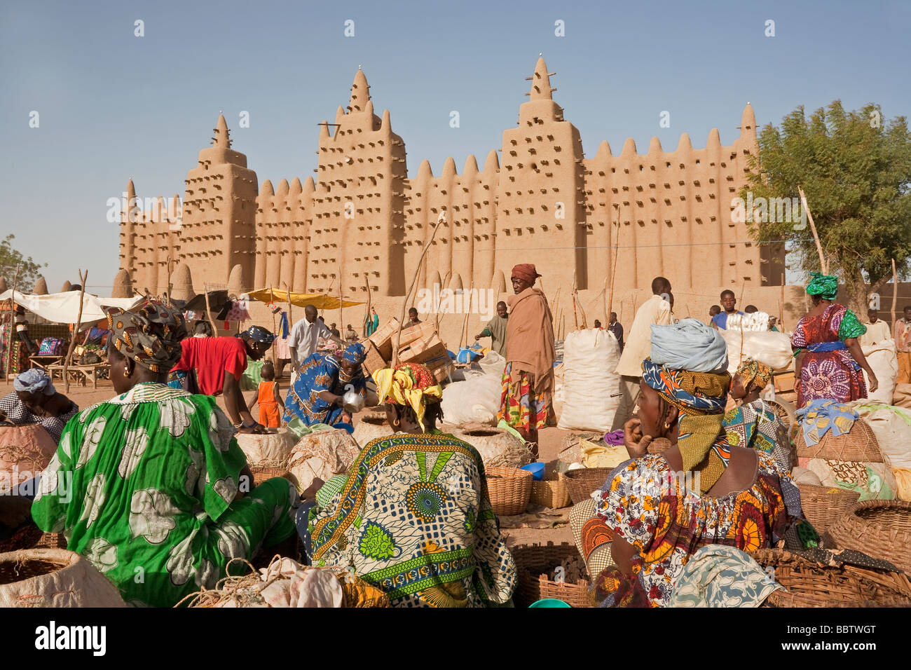 Great Mosque of Djenne, Djenne, Mopti Region, Niger Inland Delta, Mali, West Africa Stock Photo