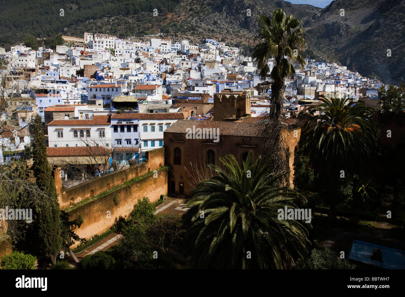 View from Kasbah, Chefchaouen, Morocco, North Africa - Stock Image