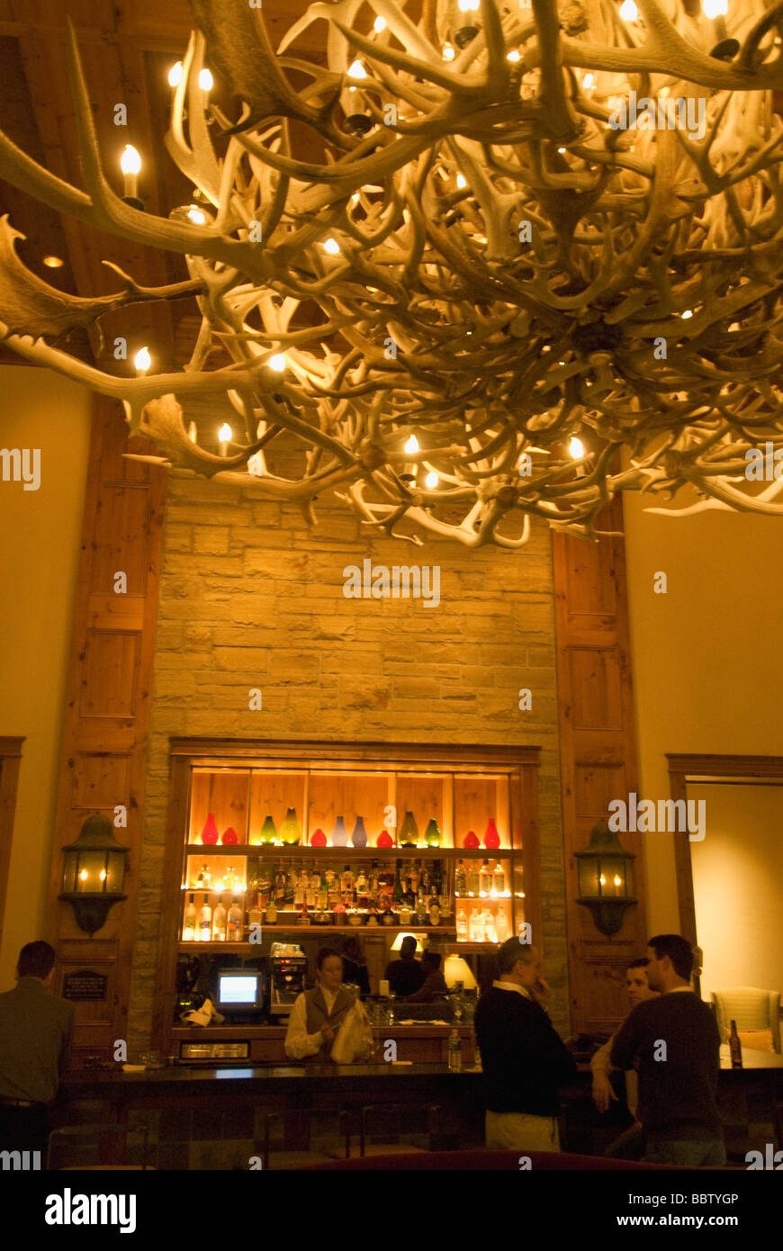Antler chandelier in lobby and bar of the hyatt hotelin the ski antler chandelier in lobby and bar of the hyatt hotelin the ski resort of beaver creek colorado aloadofball Image collections