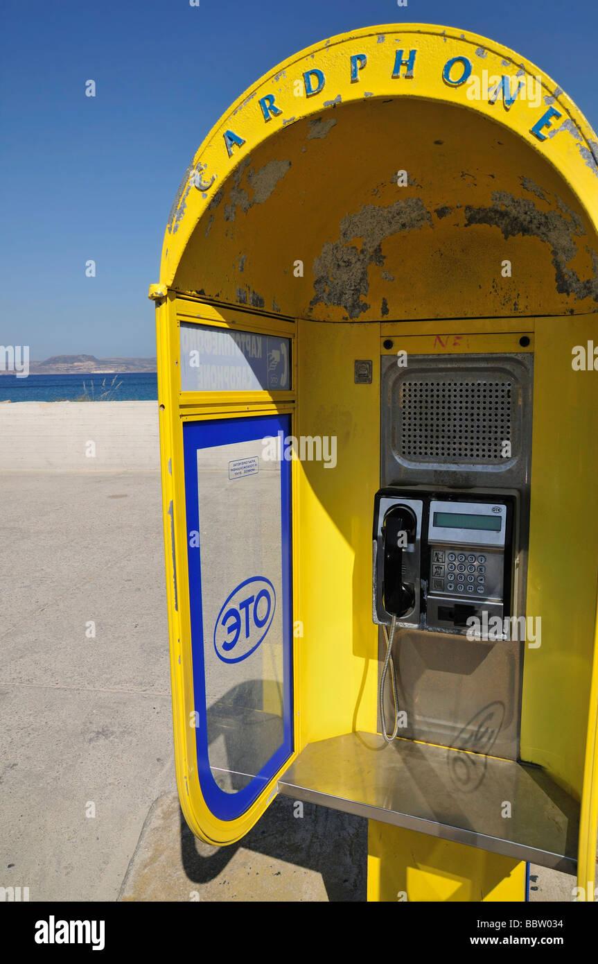 Cardphone, greek  telephone company OTE (Hellenic Telecoms S.A.) in Sitia (Siteia), Crete, Greece, Europe - Stock Image
