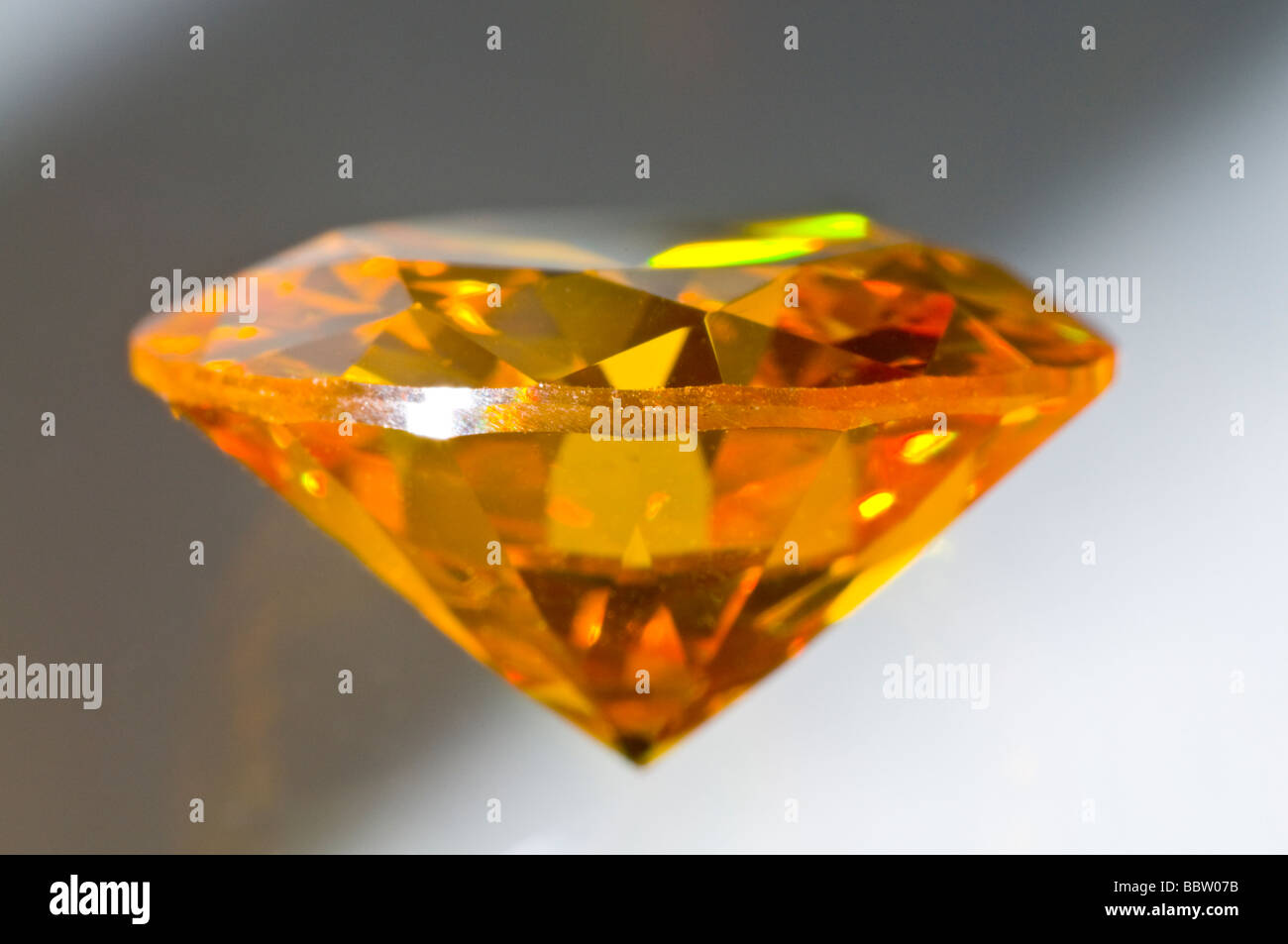 Citrine gemstone (synthetic - lab-created) Round cut - Stock Image