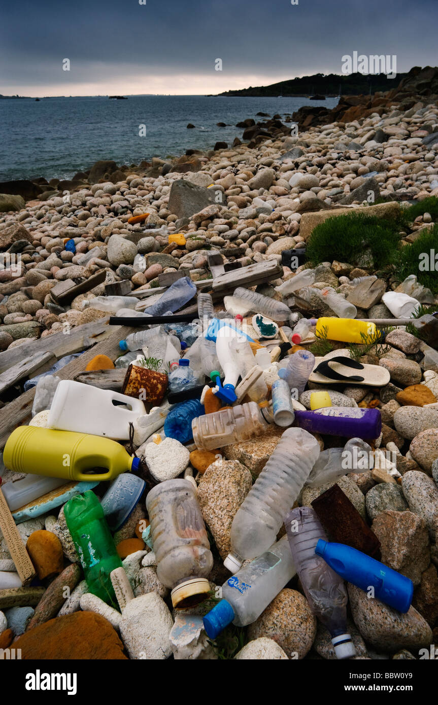 Plastic washed ashore on the Isles of Scilly  England UK - Stock Image