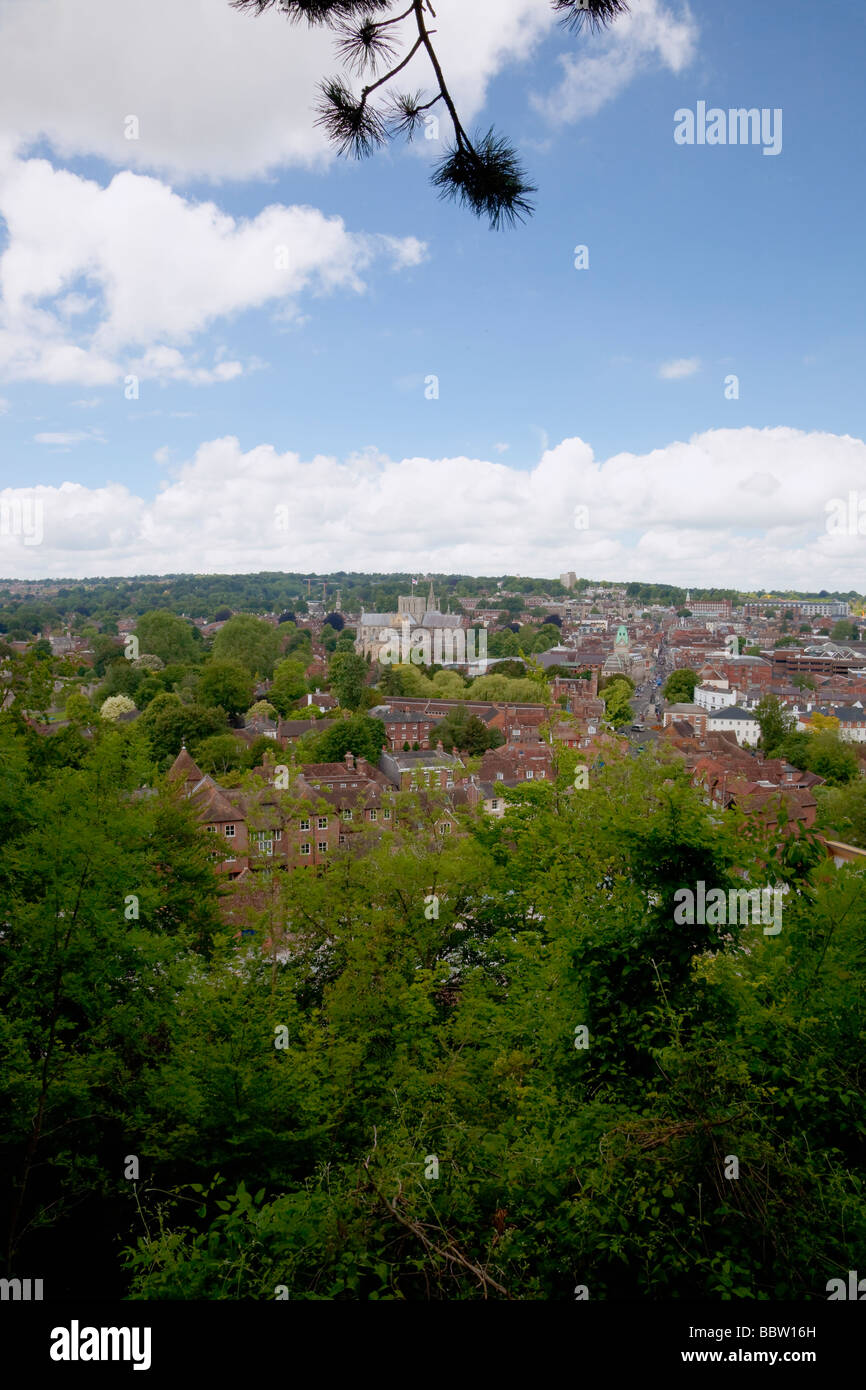Looking down on Winchester City from viewpoint on warm summer's day - Stock Image