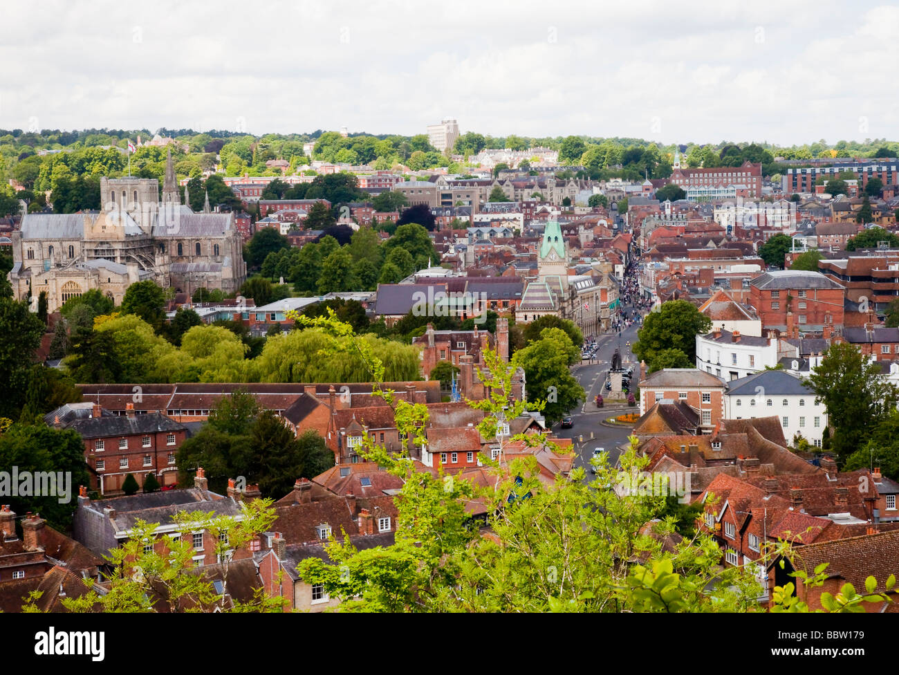 Viewpoint overlooking Winchester City, Hampshire - Stock Image