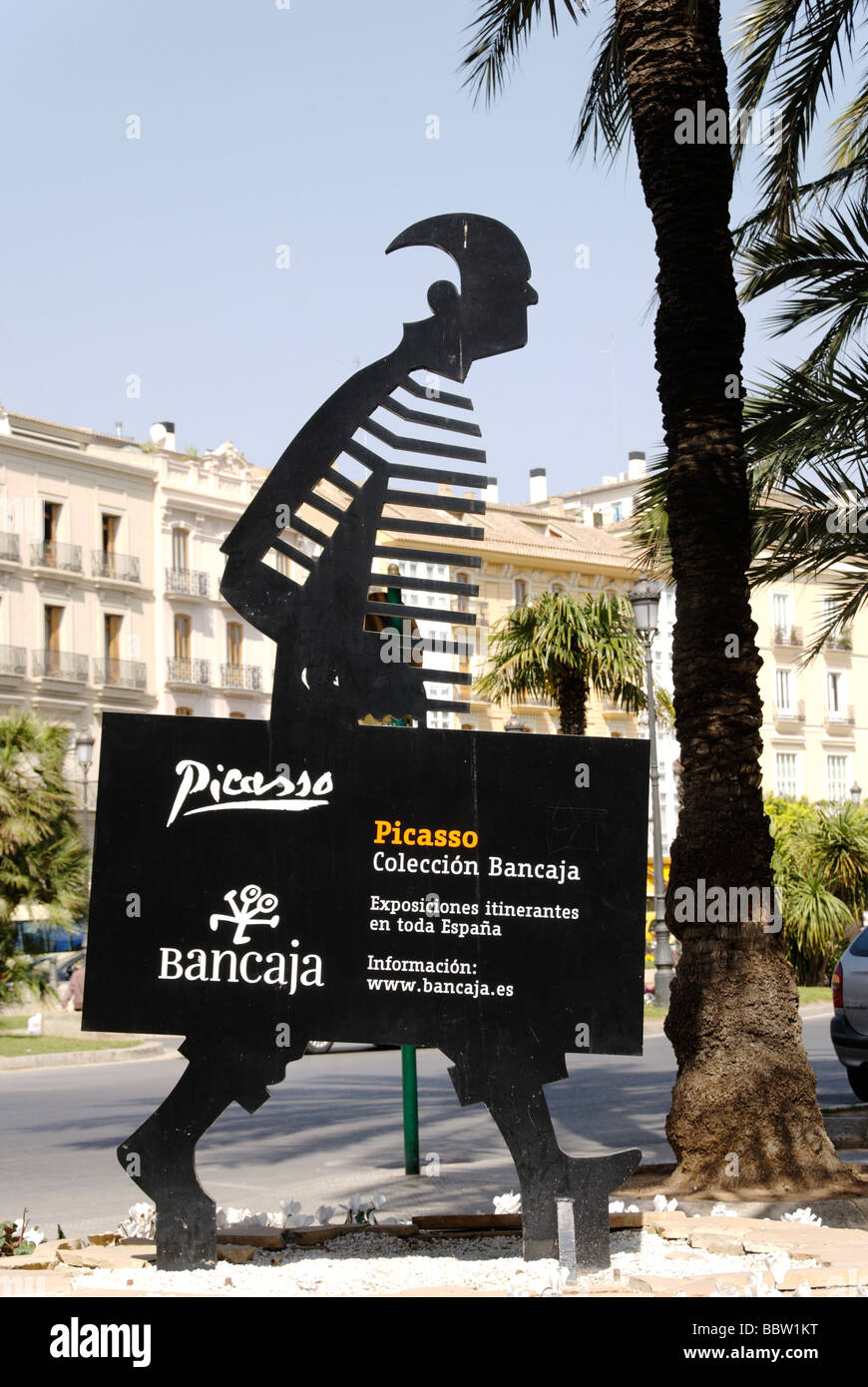 Sign to Picasso exhibition centre in central Valencia Spain - Stock Image