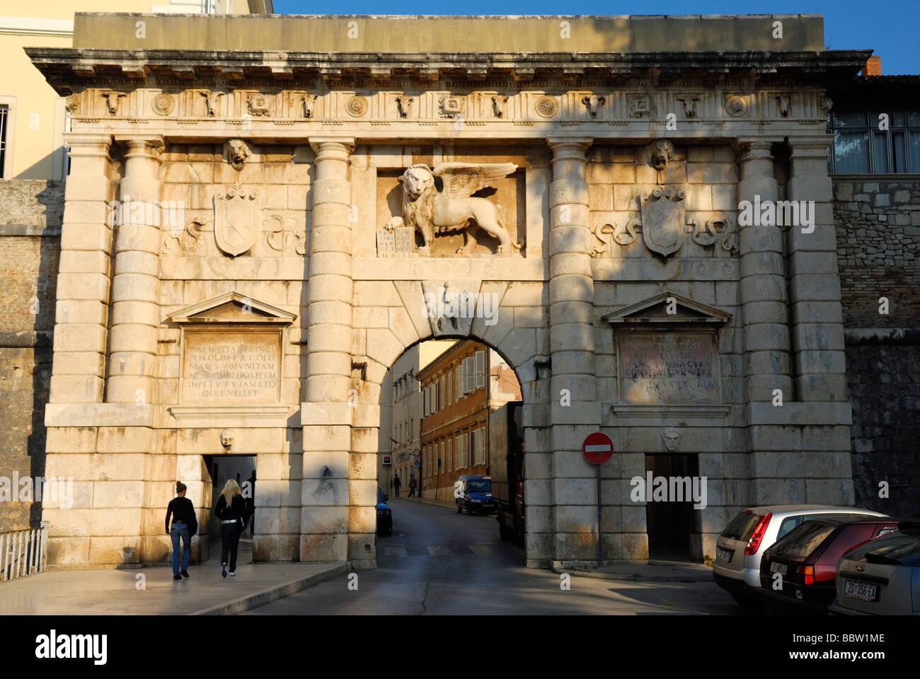 The Land Gate at Zadar on Dalmatian Coast of Croatia - Stock Image
