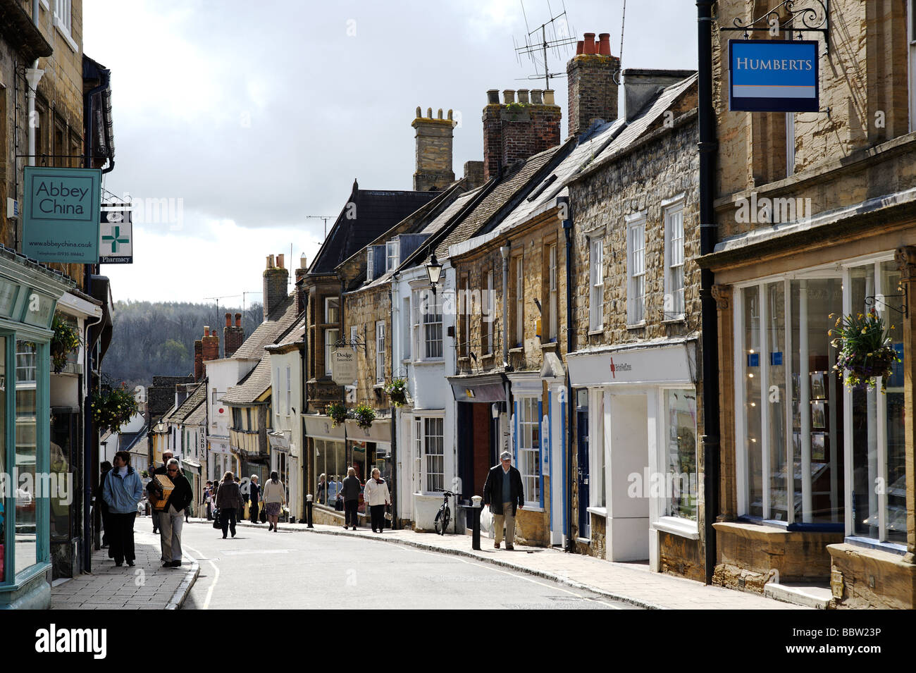 View of Cheap St high street in Sherborne Dorset South West England UK - Stock Image