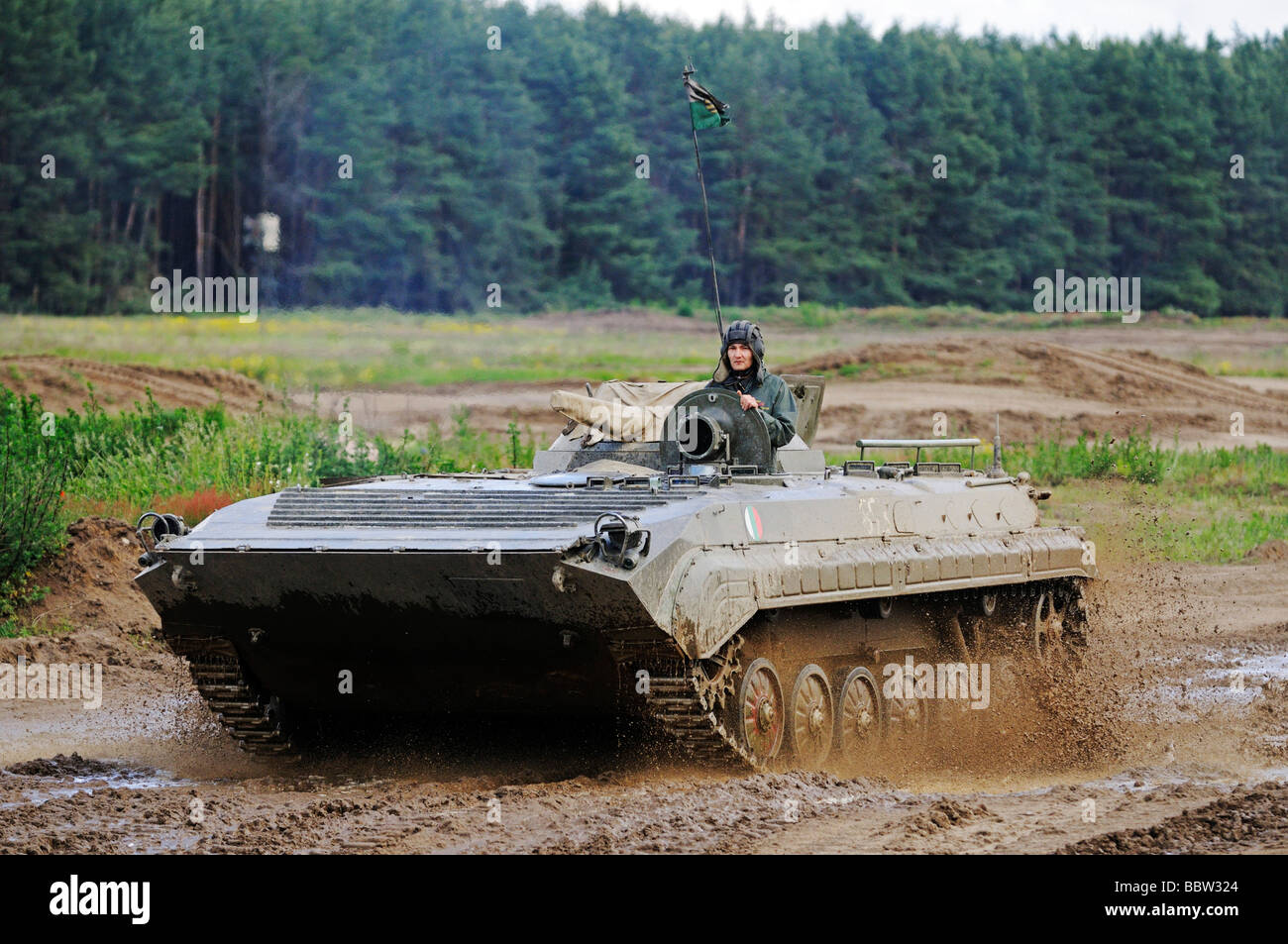 Tank driving school for tourists, BMP armored vehicle, Steinhoefel, Brandenburg, Germany, Europe - Stock Image