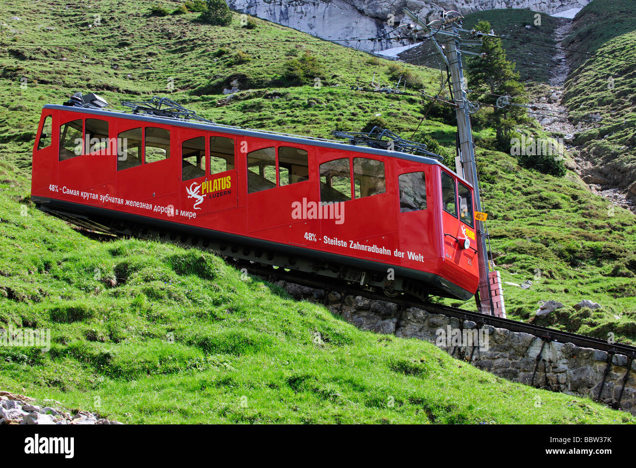 Cogwheel railway to Mount Pilatus, a recreational mountain near Lucerne, the 48% gradient making it the steepest - Stock Image